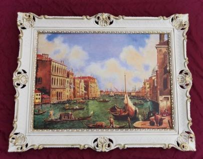 Bild mit Rahmen Gemälde 90x70 Barock Wandbild Venedig Gondeln Nostalgie Canal Gr