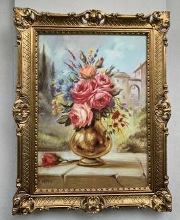 Gemälde Blumenbild 90x70 Blumen in Goldenen Vase Rosen Bild Barock Rahmen Gold