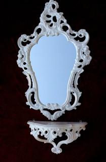 Wandspiegel Weiß Barock mit Wandkonsole Antik Spiegel 50X76 Spiegelablage Repro