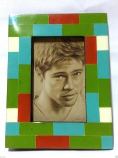 Bilderrahmen HOLZ Antik 27x22 grün Blau 10x15 Ausstellungsstück Fotorahmen