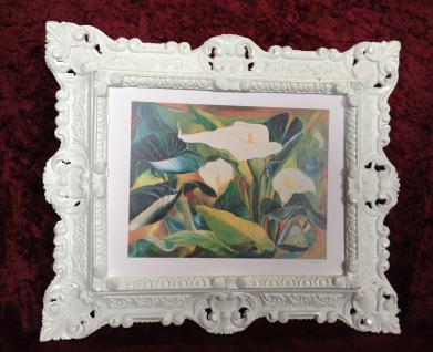 Bild mit Rahmen Blumen Calla Gemälde mit Rahmen Rechteckig 45x38 Barock 345B