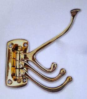Wandhaken Garderobenhaken Kleiderhaken Antik Messing Gold 13x15 Haken beweglich - Vorschau 4