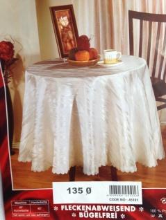 Tischdecke 135 Rund Weiß Damast Marmor Jacquard Polyester Tischtuch Tafeltuch