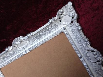 Bilderrahmen Jugendstil Weiß-Silber Antik Rechteckig 56x46 BAROCK 30x40 Rückwand - Vorschau 3
