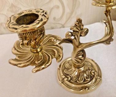 ANTIK Kerzenständer MESSING Kerzenleuchter 2 armig GOLD 18 cm Massiv Kandelaber