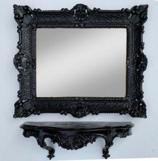 Wandspiegel Rechteckig mit Konsole Schwarz BADSPIEGEL Spiegelablage 56X46 Barock