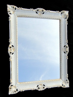 Bilderrahmen Weiß-Gold Barock mit Glas Antik 90x70 Hochzeitsrahmen für Fotos