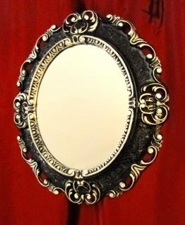 Wandspiegel Oval ANTIK Spiegel SCHWARZ SILBER BAROCK Badspiegel 45x38 Oval 1