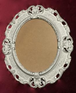 BILDERRAHMEN OVAL Weiß-Silber Antik Barock Fotorahmen 45X37 Spiegelrahmen Neu - Vorschau 2
