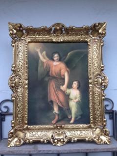 Gemälde Schutzengel Bild religiöse Bild 56x46 Heiligenbilder Bild mit Rahmen