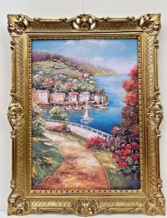 Gemälde Landschaftsbild Meer See/Meerblick Bild mit Rahmen Antik 90x70 Wandbild