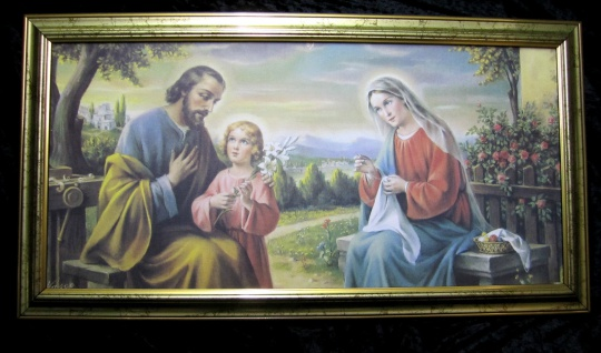 Gerahmte Gemälde Bilder Rahmen 77x42 Jesus Christus Ikonen heilige Maria Geburt