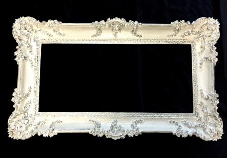 Bilderrahmen Weiß-Silber mit Glas 97x57 Antik Hochzeitsrahmen Barock Prunk