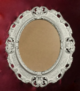 BILDERRAHMEN OVAL Weiß-Silber Antik Barock Fotorahmen 45X37 Spiegelrahmen Neu - Vorschau 4