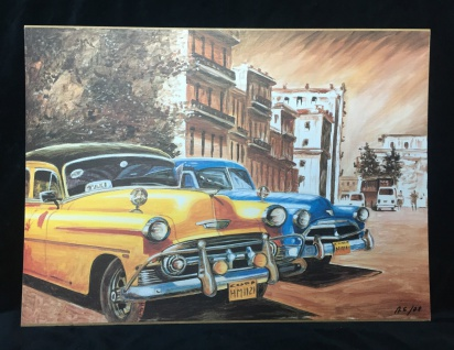 Auto Cuba Gelb Blau Bild auf MDF Platte 70x50 Oldtimer Classic Cuban Auto