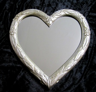 Wandspiegel Spiegel Herz form Antik Silber Barock 39x38 Badspiegel 3072