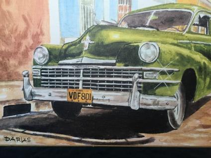 Auto Cuba Grün Bild auf MDF Platte 70x50 Oldtimer Classic Cuban Auto Wandbild