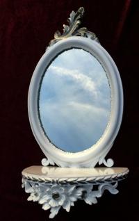 Wandspiegel Weiss Silber Barock mit Wandkonsole Antik Spiegel 48x25 Oval cp91 - Vorschau 2