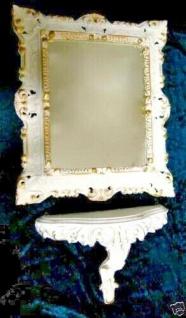 Set-Wandspiegel-Wandkonsole-Weiss-Gold-Barock-45x37-Spiegel-mit-Konsole-Ablage