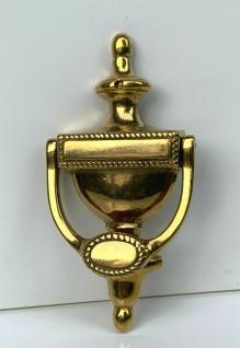 Türklopfer Messing Gold Poliert 195mm Englischer Art Antik Türdeko Massiv