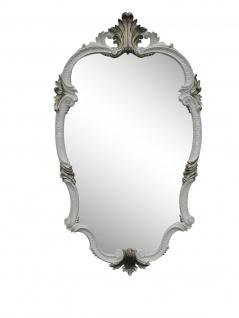 WANDSPIEGEL Barock Weiß- Silber Oval 99x55 Antik Spiegel Friseurspiegel C410 big
