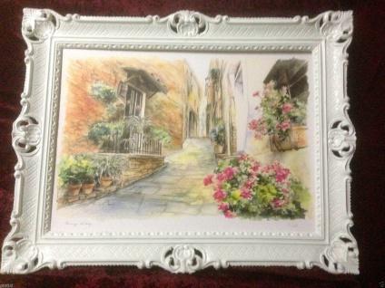 Gerahmte Gemälde Weiß Sizilien Blumen 90X70 Landschaftsbild Weiß Bild mit Rahmen