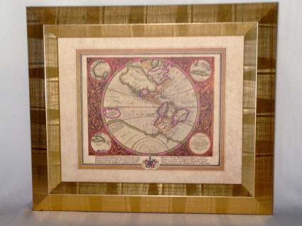 Weltkarte mit Rahmen 65x55 Gemälde Weltatlas Bilderrrahmen HOLZ Wandbild Antik - Vorschau 2