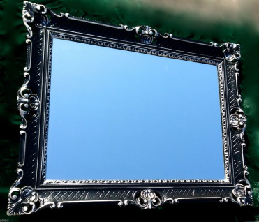 Bilderrahmen Barock Schwarz/Silber 90x70 Fotorahmen Antik Gemälderahmen mit Glas
