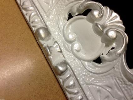 Bilderrahmen Barock Weiß-Silber 57x47 Rahmen Antik Rechteckig Shabby Fotorahmen