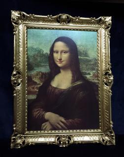 Gemälde Mona Lisa von Leonardo da Vinci barock 90x70 Bild mit Rahmen gold Antik