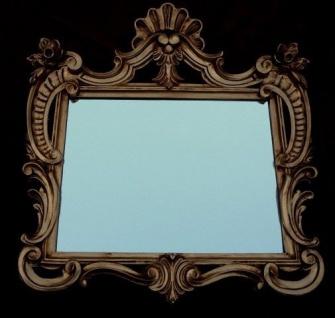 Wandspiegel Antik Rechteckig Gold Badspiegel Spiegel 60X57 Shabby c494 mirror