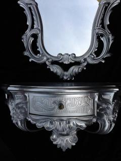 Wandspiegel Oval mit Konsole Silber Hochglanz 50x76 Barock Wandspiegelablage