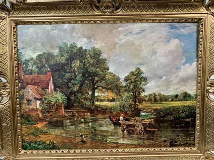 Bild mit Rahmen Landschaften Bauernhof Kutsche 90x70cm Kunstdruck Bild Wandbild