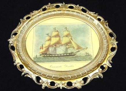 Segelschiff Denlles Gemälde Schiff Bild Bilderrahmen groß Antik 58X68 Fotorahmen