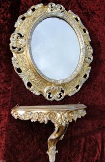 Ovaler Wandspiegel mit Wandkonsole Barock 45x38 cm Gold-Weiß Spiegel + Konsole