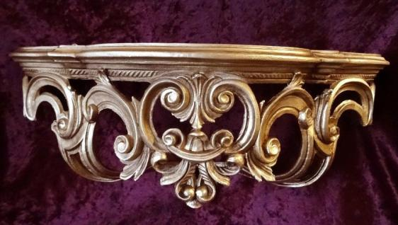 Regal Wandkonsole Gold BAROCK Spiegel KONSOLE 50x20x24 ANTIK ornamente C72 - Vorschau 2