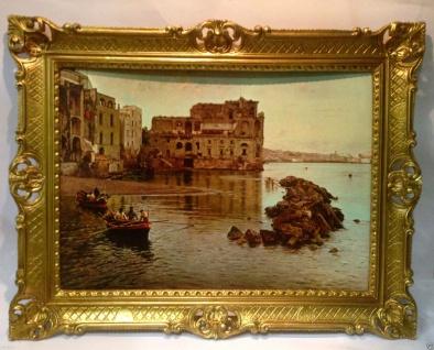 Gemälde Landschaftsgemälde Meer Boot Bilder Schiffe 90x70 Insel Wohnzimmerbild