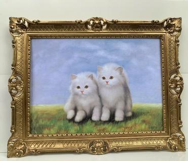 Bild mit Rahmen Kätzchen 90x70 Katzen Gemälde Barock Wandbild Tiere Kunstdruck