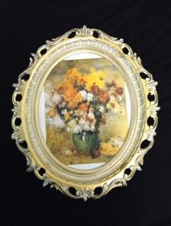 Bild mit Rahmen Blumen Gemälde ANTIK BAROCK 58X68 xxl Bilderrahmen groß