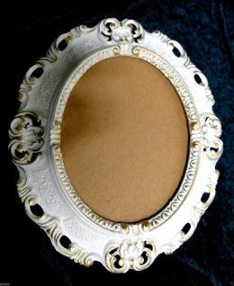 BILDERRAHMEN OVAL Weiß-Gold Antik Barock Fotorahmen 45X37 Spiegelrahmen Neu - Vorschau 4