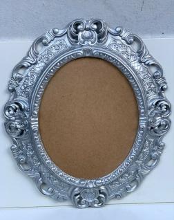 Bilderrahmen Oval Barock Silber 45x38 Fotorahmen 24x30cm Bilderrahmen PRUNK