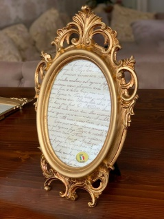Bilderrahmen oval Gold Antik Barockrahmen16x12cm Fotorahmen Shabby 29x18 Deko