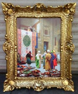 Gemälde Teppich Verkäufer in Basar orientalisches Bild 57x47cm Barock Rahmen