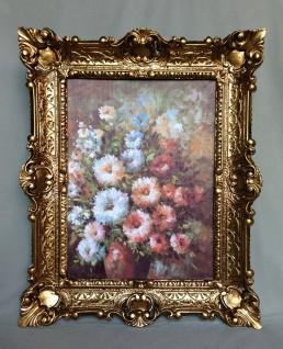 Gemälde Rosen mit Braune Vase Wandbild 57x47 Bild mit Rahmen Blumen Bild 03