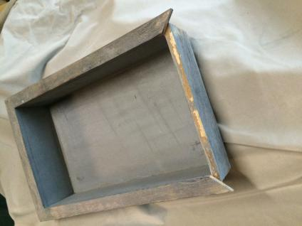 Tablett Landhausstil Shabbychic Usedlook blau-brau Deko Wohne Holz Servierplatte