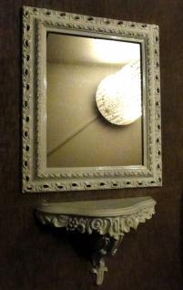 WANDSPIEGEL Weiß mit KONSOLE SHABBY Barock 43x36 Badspiegel WANDSPIE Rahmen