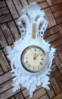 Wanduhr Uhr Barockuhr Antik mit Thermometer Weiß 38x65 jugendstill Adler