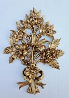 Wanddeko Antik Barock Wandbehang 38x28cm Gold Blumen Wandrelief Tür/Möbel Deko