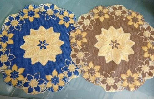 4 x Platzdeckchen Rund 38cm Blau Braun PVC Tischdecke Tischset Abwaschbar