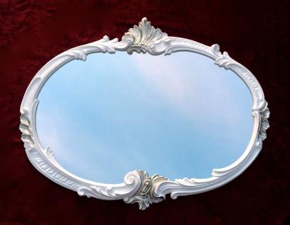 Wandspiegel Barock Oval Weiß-Silber 52x42 Badspiegel Vintage Antik Retro C17